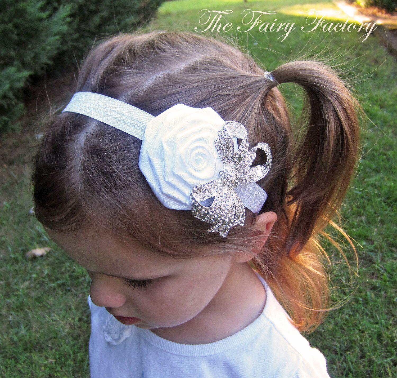 White Flower Headband Snow White Satin Rose W Sparkling