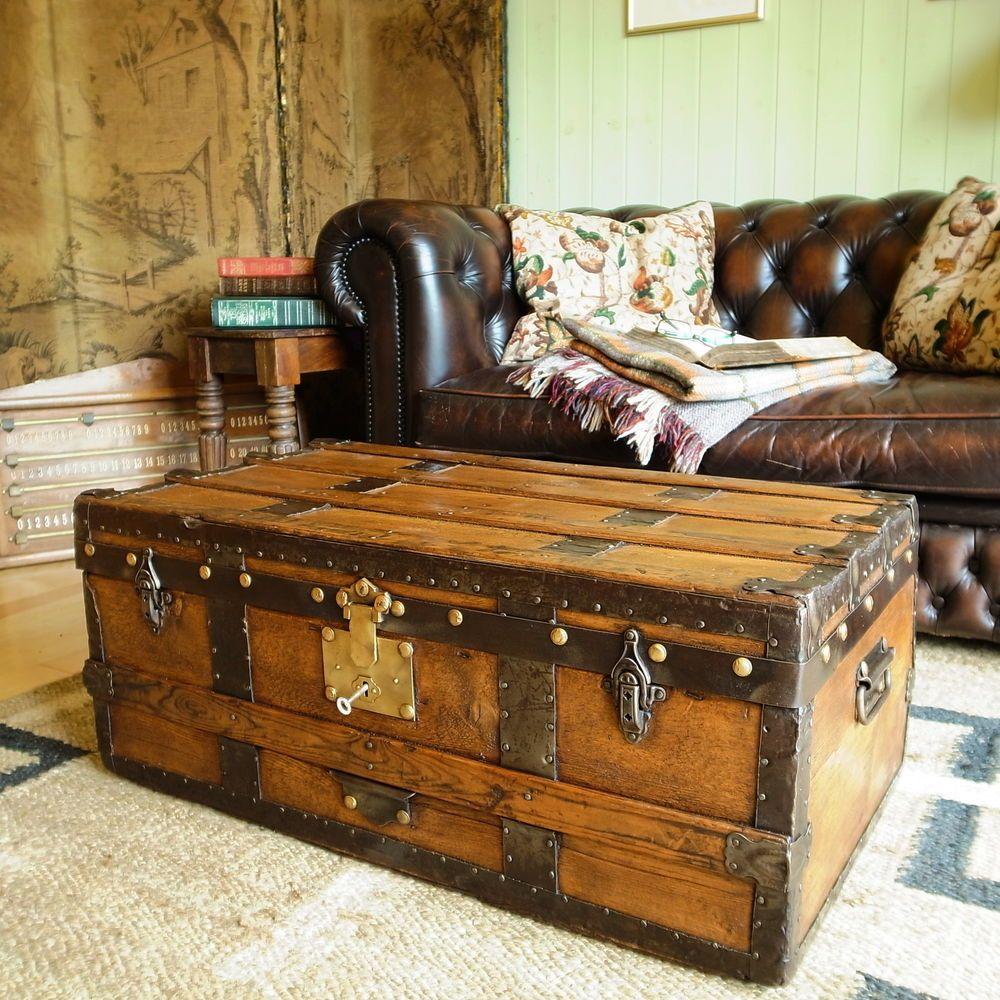 Vintage steamer trunk pine chest victorian travel trunk storage box