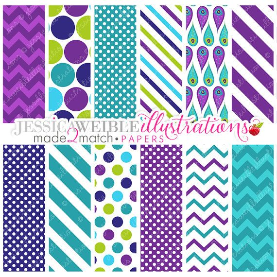 Pretty Peacocks Cute Digital Papers Backgrounds for Personal and