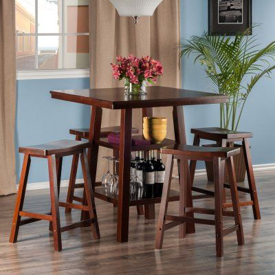 Winsome Orlando 5 Piece Counter Height Dining Table Set With Backless Stools