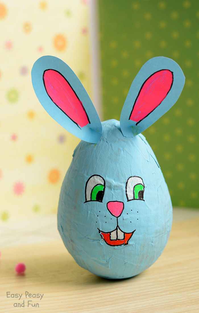 Lovely Paper Mache Craft Ideas For Kids Part - 6: Wobbling Papier Mache Bunny - Easter Crafts For Kids - Easy Peasy And Fun