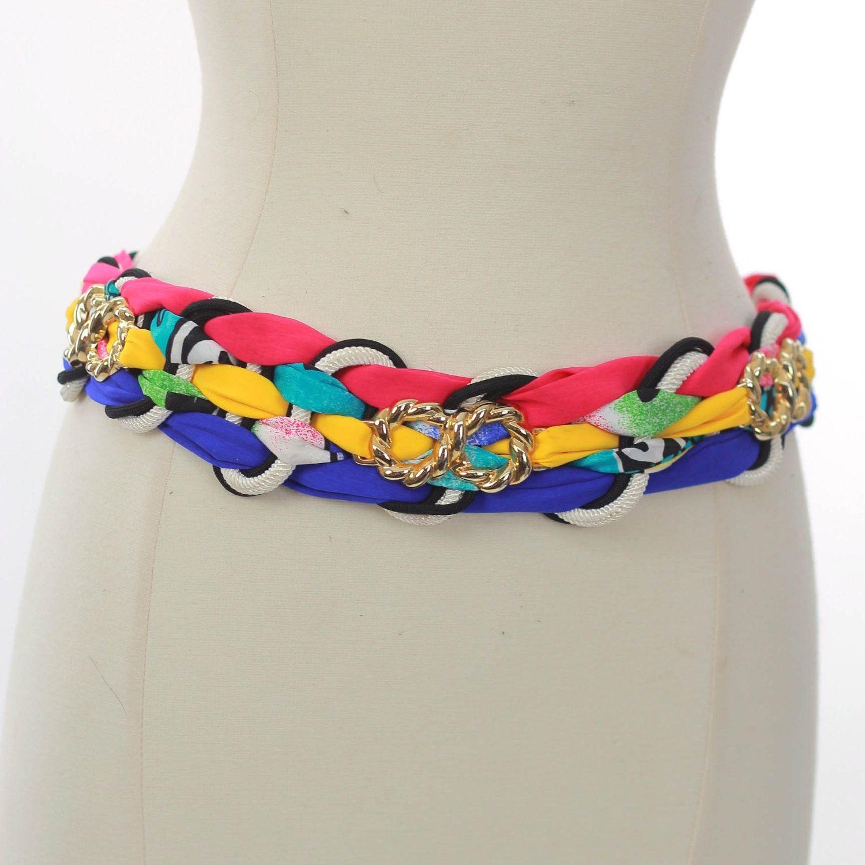 80s boho belt Fabric belt Neon belt stripe belt Hippie belt Festival Belt Bohemian belt gypsy belt Metal belt Abstract belt Rocker belt M by SHABBYBABEVINTAGE on Etsy