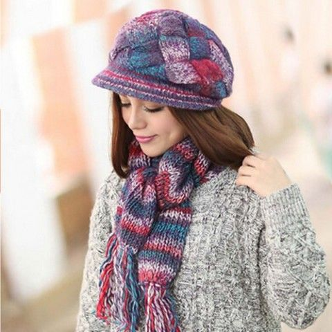 5af2d2291ab In winter women hat and scarf set four colors for your choice ...