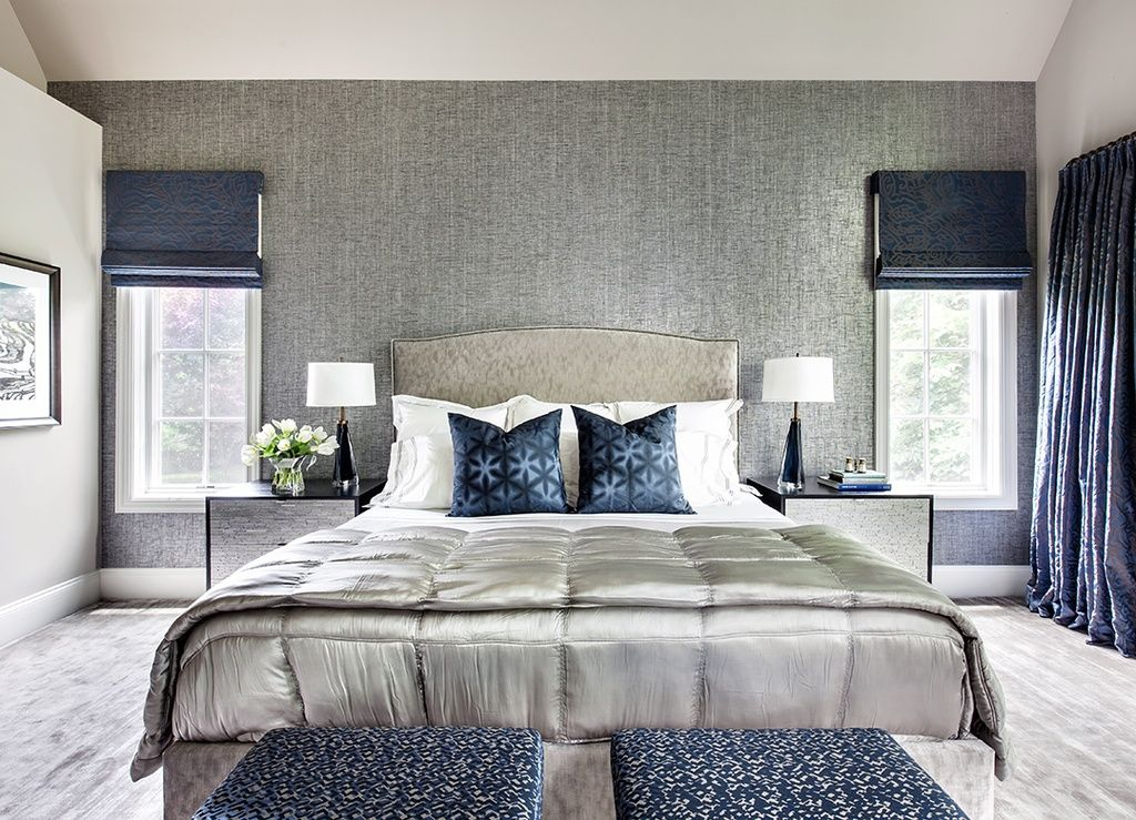 Contemporary Master Bedroom with Hardwood floors, High ceiling, Custom Fabric Small Storage Bench with Box Border Top