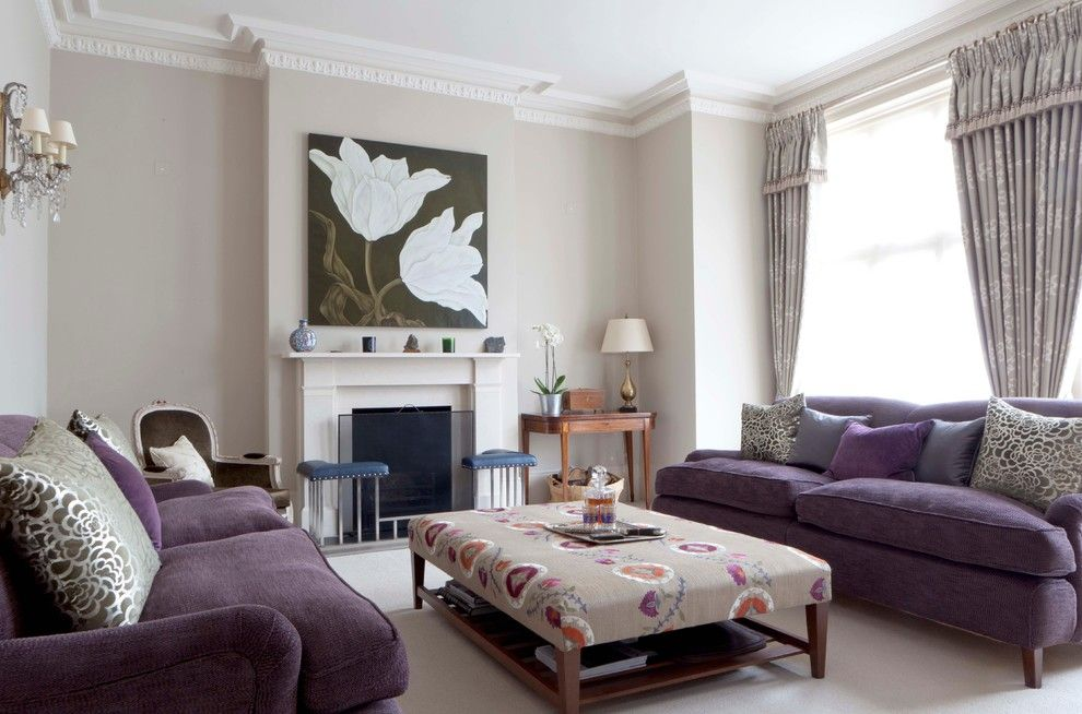Purple And Taupe Living Room