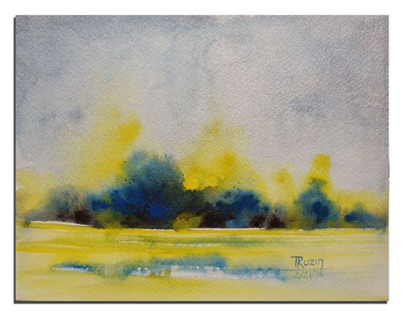 Abstract Landscape Painting 10X8 Original by WatercolorsTR on Etsy