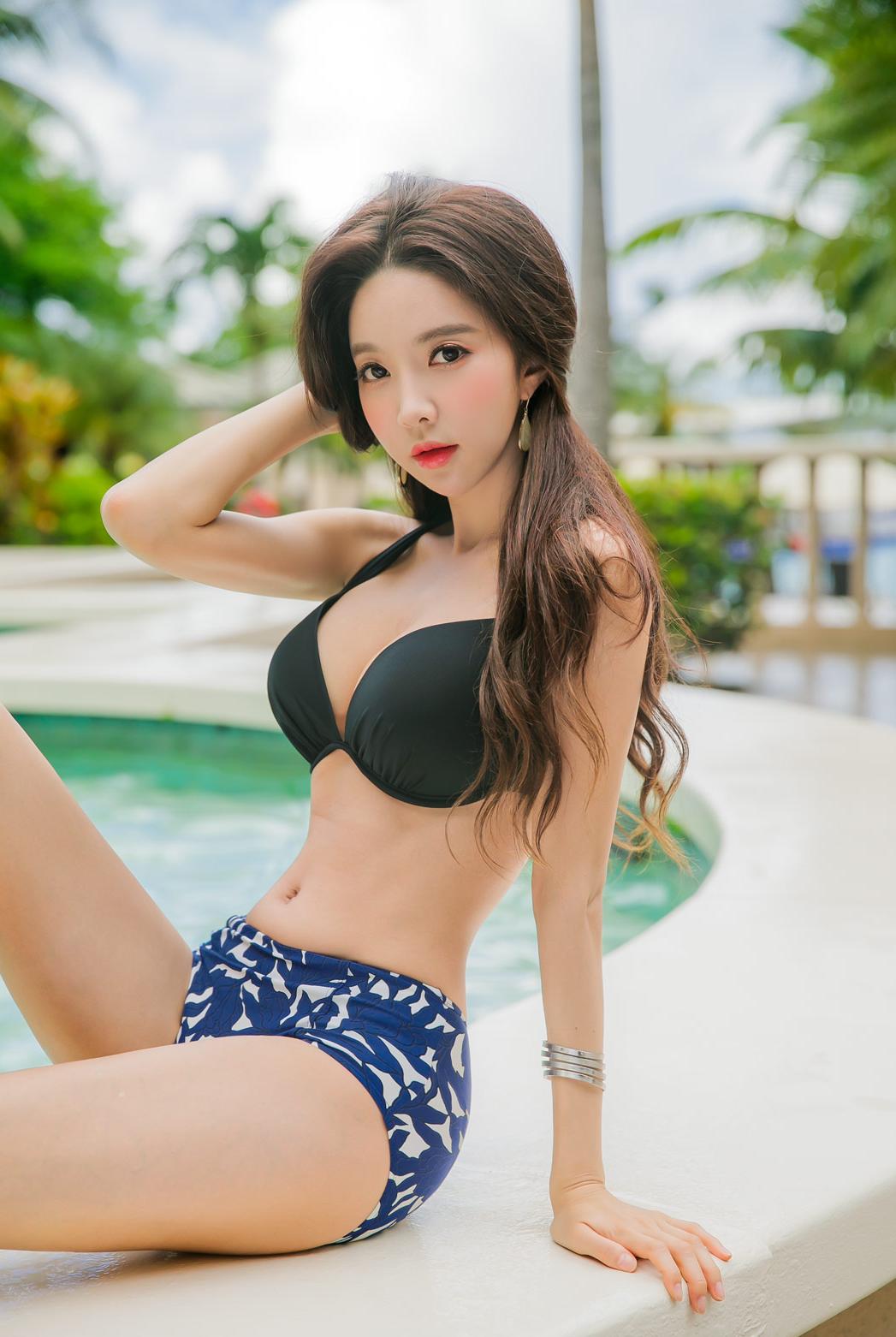 Beautiful asian bikini model stock photo footage