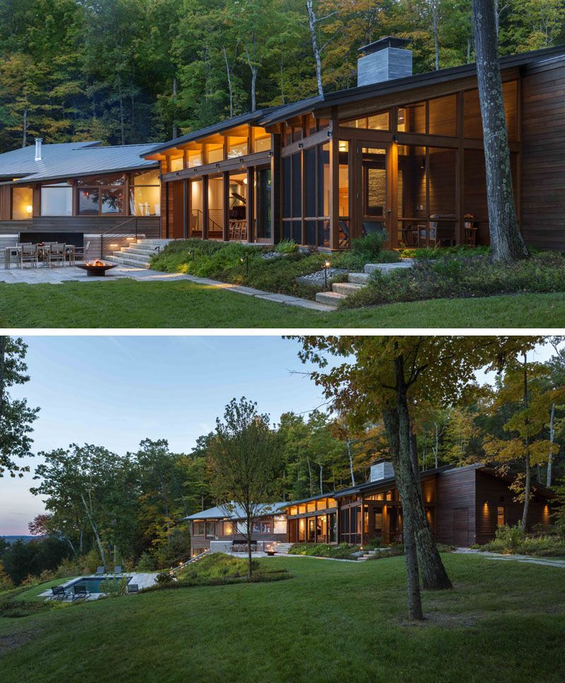 A Contemporary Family Retreat Designed For The Berkshire Mountains House In The Woods Modern Lake House Modern Wood House