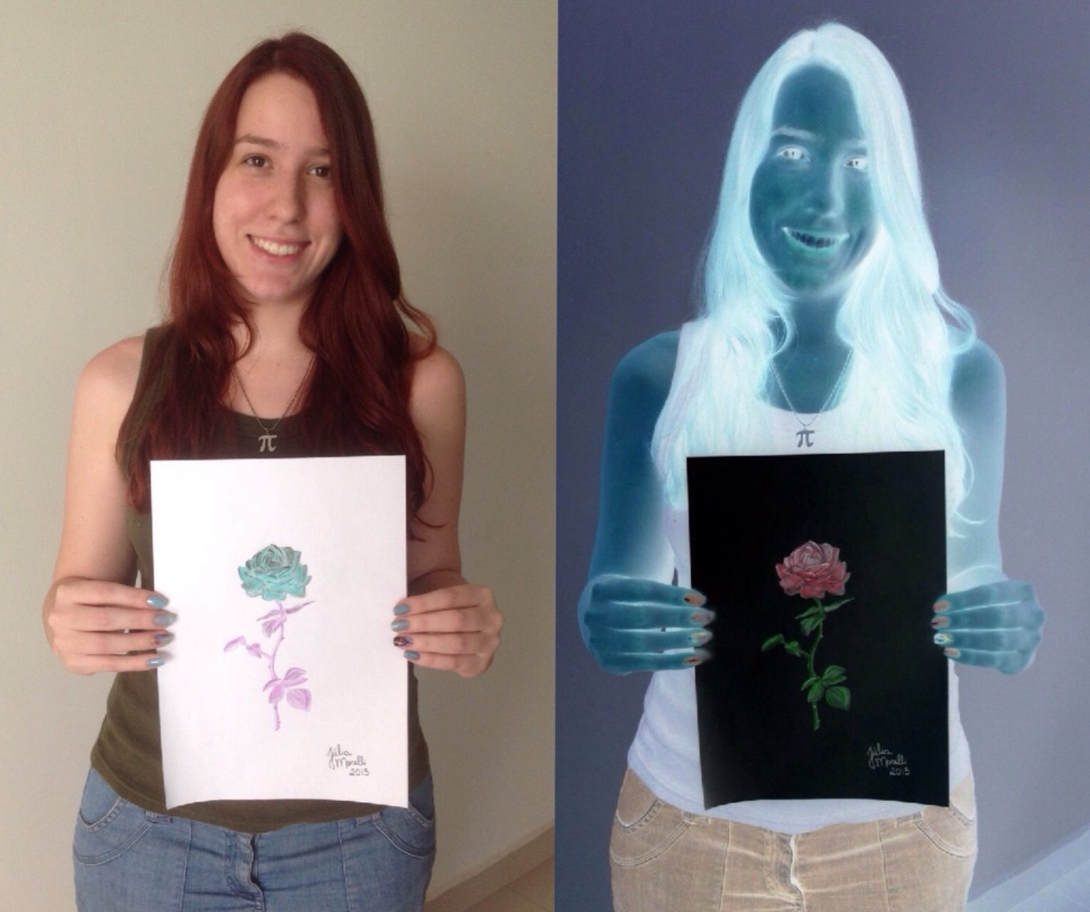 Negative drawing art ☆ Rose drawing ☆ Negative filter draw