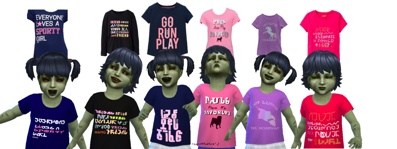 lana cc finds franzillasims assorted simlish graphic tees for