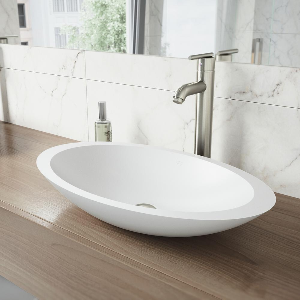 Vigo Matte Stone Wisteria Composite Oval Vessel Bathroom Sink In White With Seville Faucet And Pop Up Drain In Brushed Nickel Vgt1240 The Home Depot Vessel Sink Bathroom Bathroom Faucets Bathroom Sink