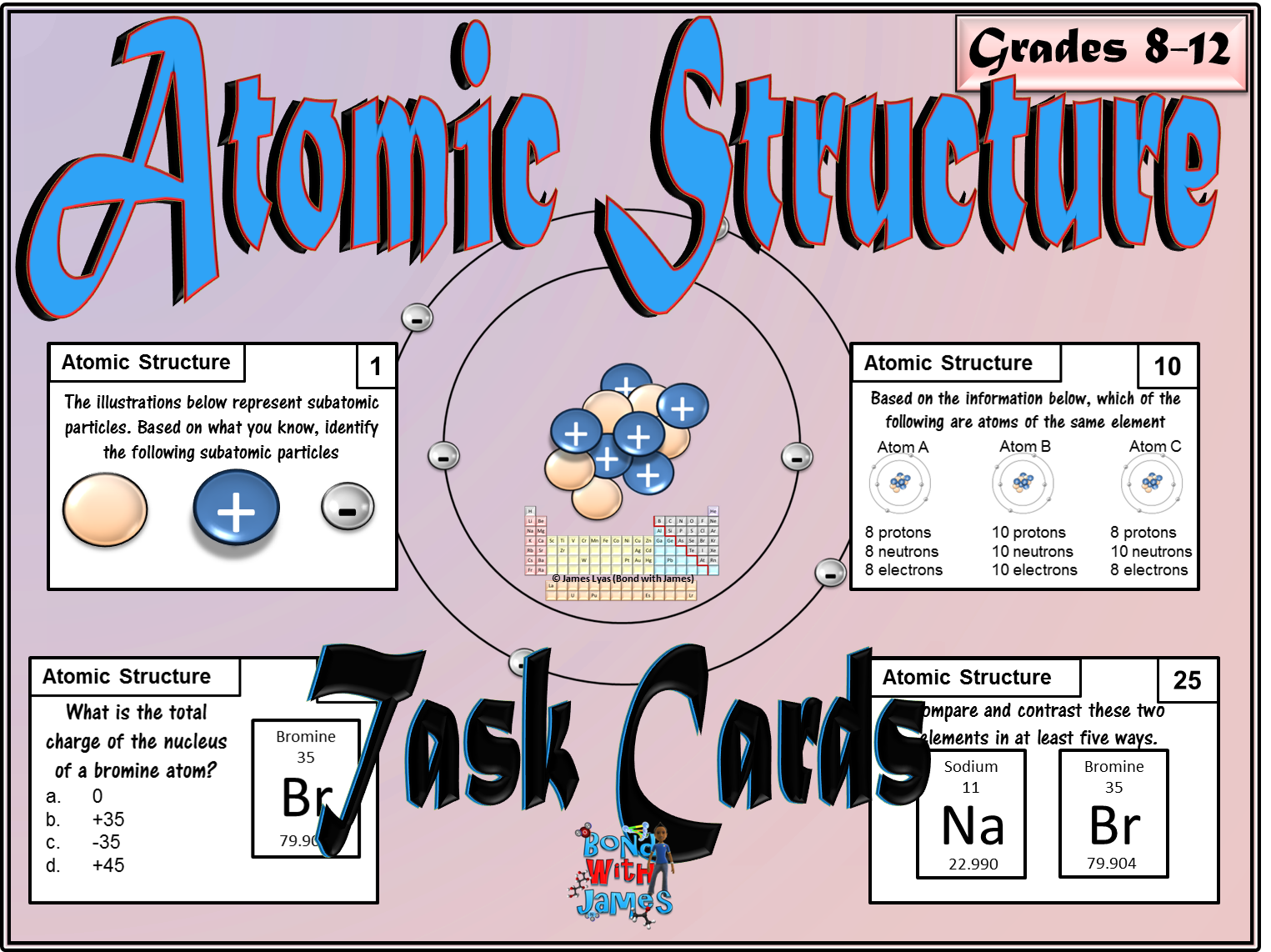 atoms and atomic structure task cards chemistry worksheets and students. Black Bedroom Furniture Sets. Home Design Ideas