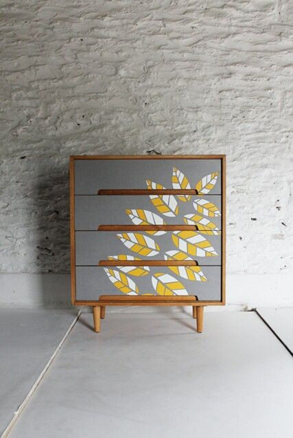 Beautiful Retro Teak Chest Of Drawers In Grey Yellow White Leaves