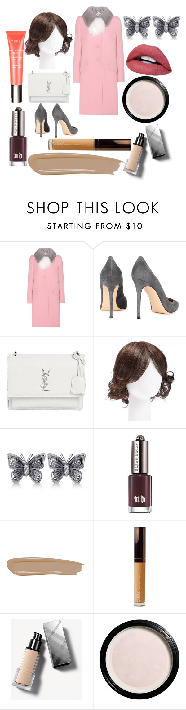 """Untitled #113"" by yasm-ina ❤ liked on Polyvore featuring Miu Miu, Gianvito Rossi, Yves Saint Laurent, Hairdo, Allurez, Urban Decay, By Terry, Becca, Burberry and Clé de Peau Beauté"