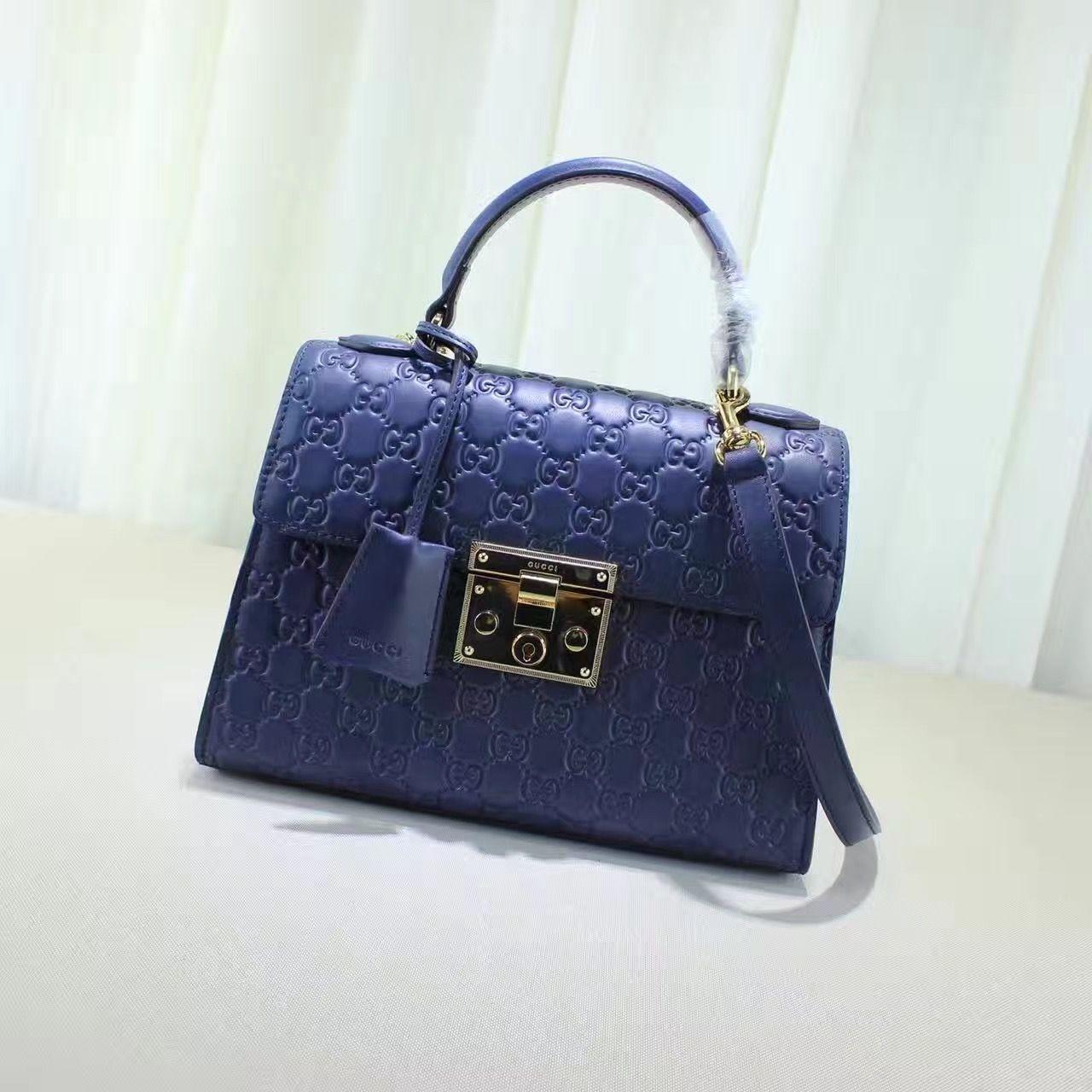 3351c65853 Gucci Padlock Signature Top Handle Small Bag 453188 Blue 2016 ...