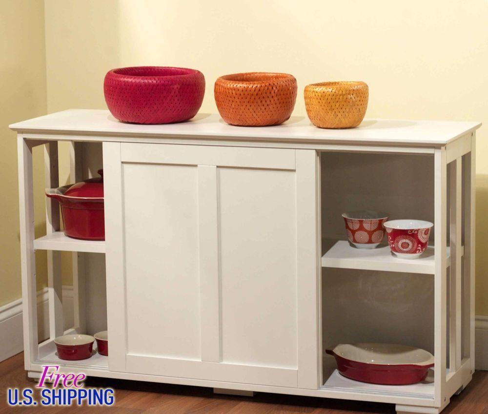White Kitchen Island Storage Cabinet Wood Top Cupboard Portable ...