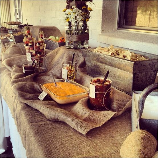 Rustic Wedding Food Ideas: Love The Burlap On This Def Need Some Sort Of Fabric On