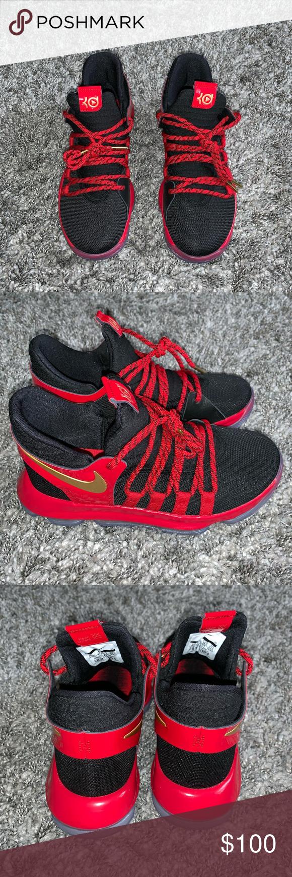 95b7deecd7be NWOT NIKE KD 10 LE GS Youth Sneakers Size 4.5Y Color  Black Metallic ...