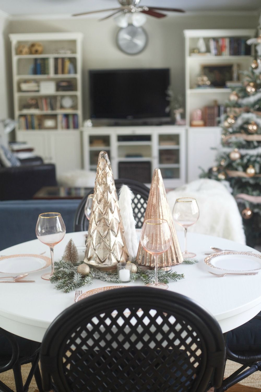 Rose Gold Christmas Parties For Pennies Rose Gold Bedroom Decor Gold Living Room Decor Rose Gold Room Decor