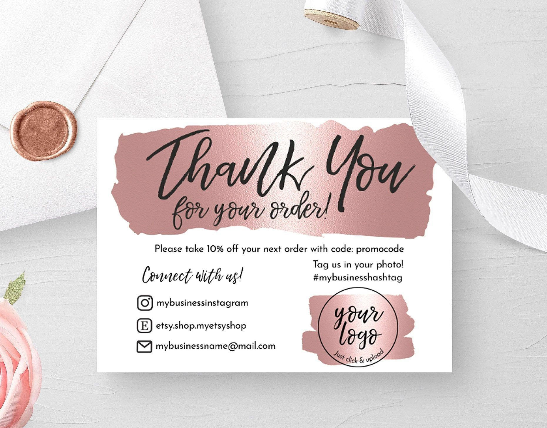 INSTANT DOWNLOAD Rose Gold Editable and Printable Thank