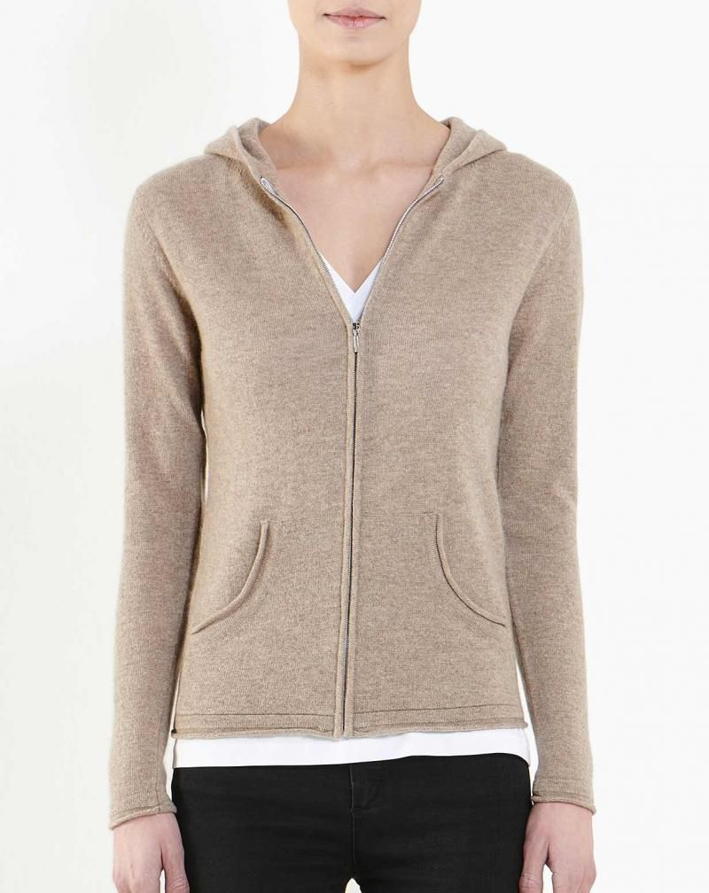 Women's Pure Cashmere Hoodie Sweater Light Grey (20 0072