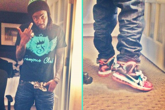 Celebrity Feet  Wale – Nike LeBron 9  Flamingo  Customs www.sneekerz ... 6f828011f