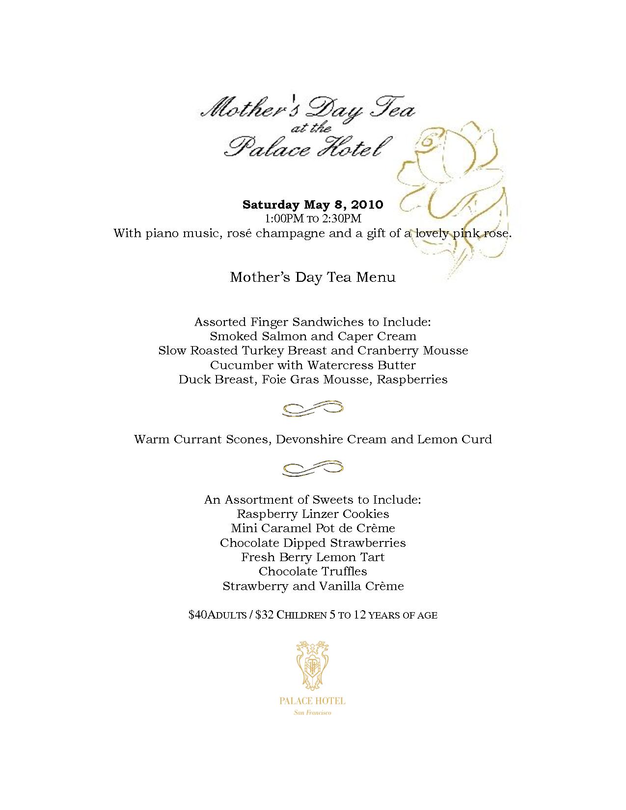 english tea party menu | Mother's Day Tea Menu