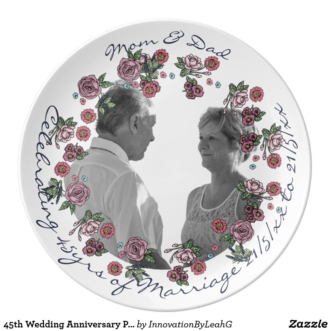 45th Wedding Anniversary Parents PHOTO Roses Dinner Plate