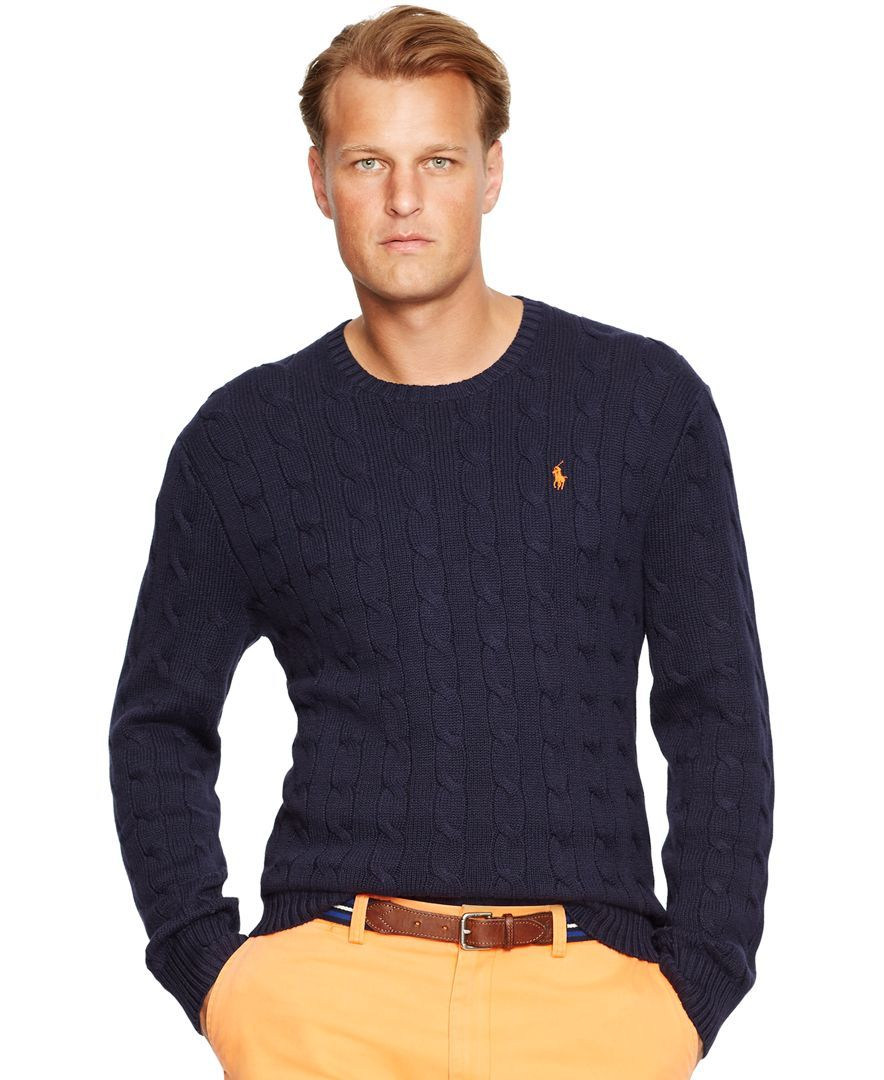 da842741800 Polo Ralph Lauren Big & Tall Cable-Knit Crewneck Sweater | Stylin ...