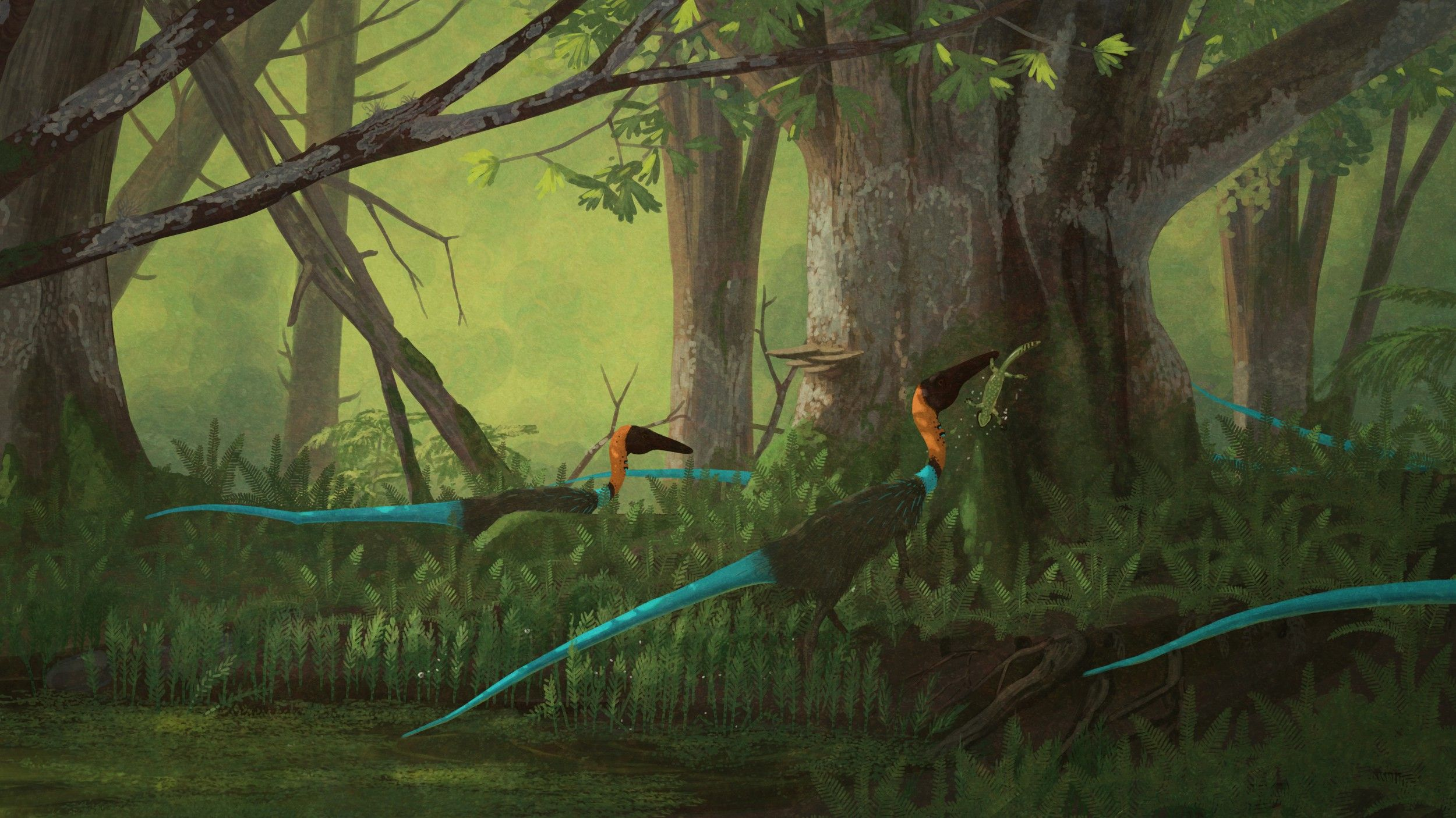 Coelophysis bauri.  Coelophysis was a small(ish) theropod dinosaur from the Late Triassic. Here they are, eating tasty temnospondyls. Mmmm... temnospondyl.