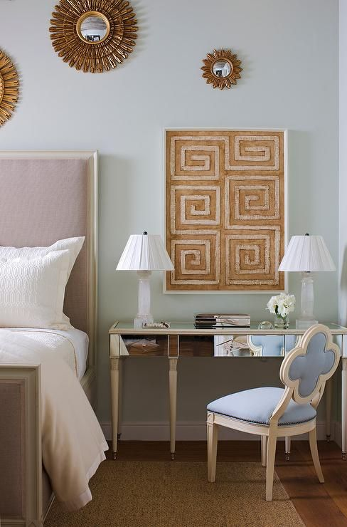 Captivating Exquisitely Decorated Bedroom Boasts A Blue Quatrefoil Chair Positioned On  A Bound Sisal Rug In Front
