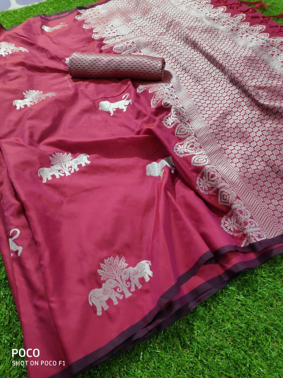Lichi Soft Silk With Zari Work Saree Wholesale | Single Pc Online