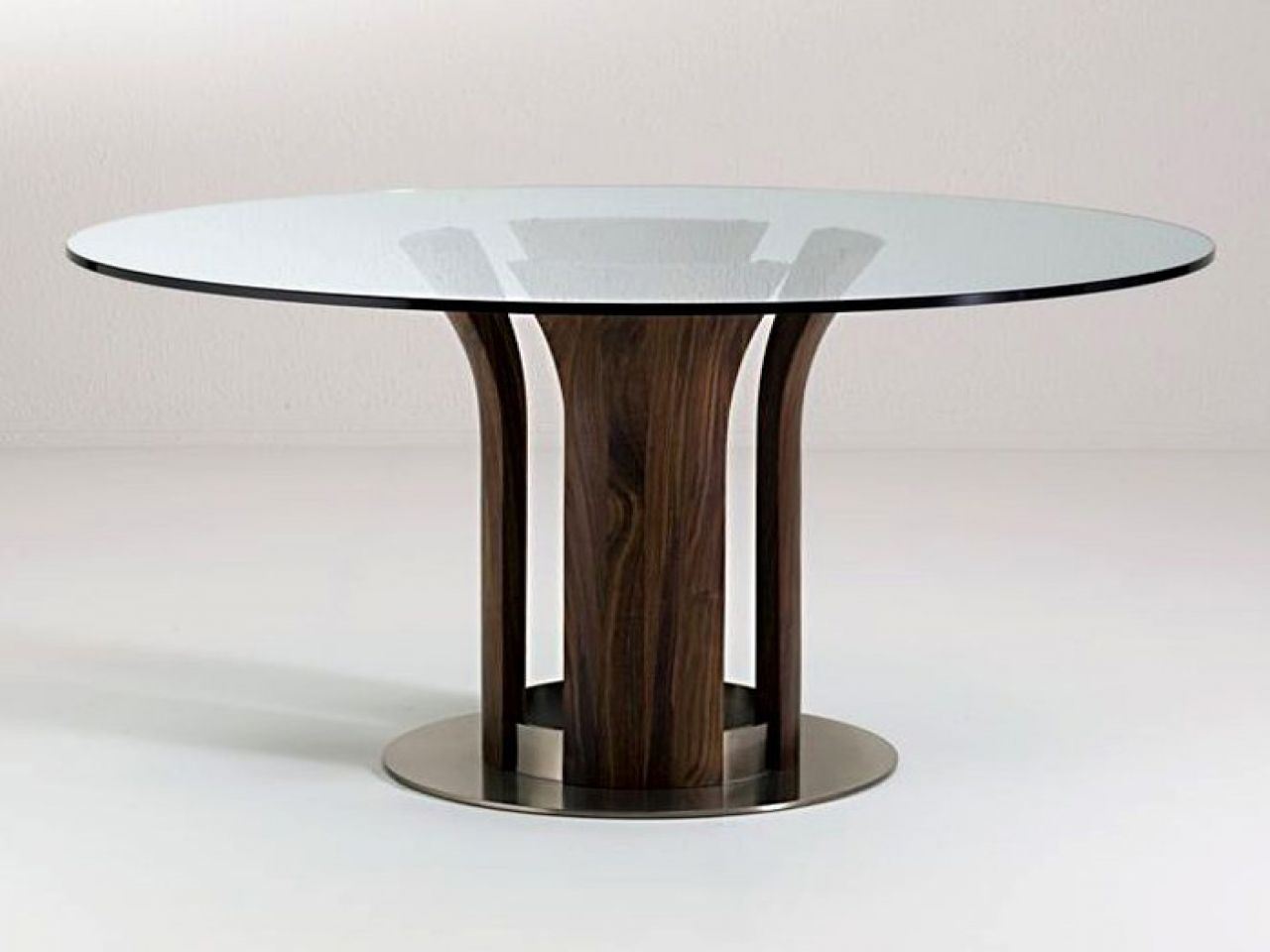 Glass Top Dining Room Sets Round Table Modern With Wooden Base