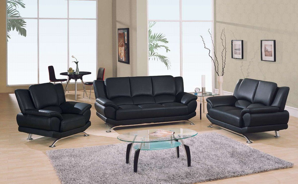 ROGERS COLLECTION STARK BLACK LEATHER SOFA WITH CHROME LEGS ...