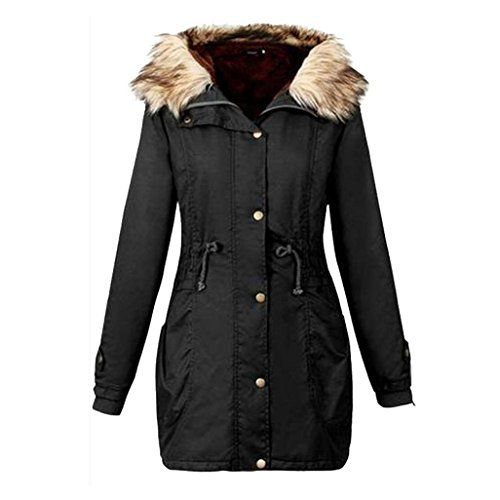 5a02611dfe72 Rela Bota Womens Hooded Warm Winter Faux Fur Lined Coats Parkas Wool Jacket  Outwear XX-