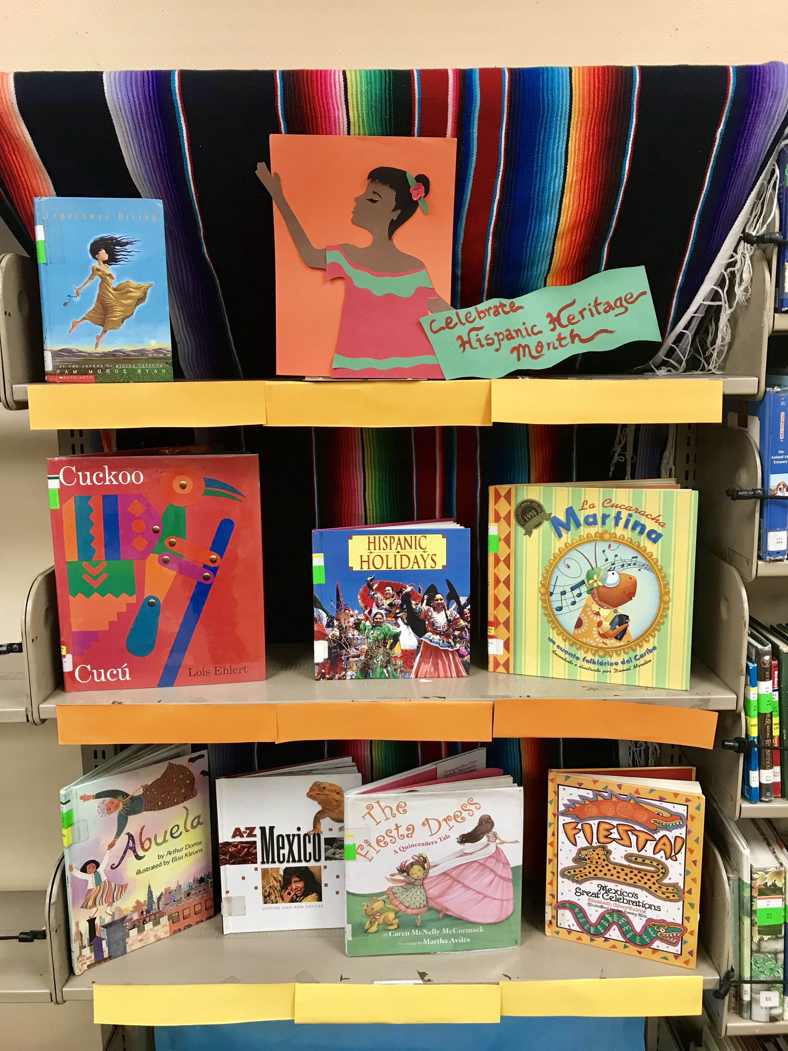School Library Display For Hispanic Heritage Month