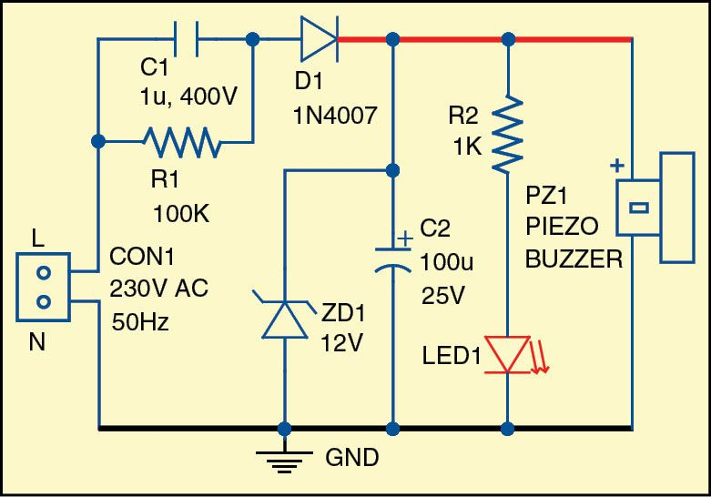 Simple Light and Sound Indicator for Mains Power Supply | Circuit ...