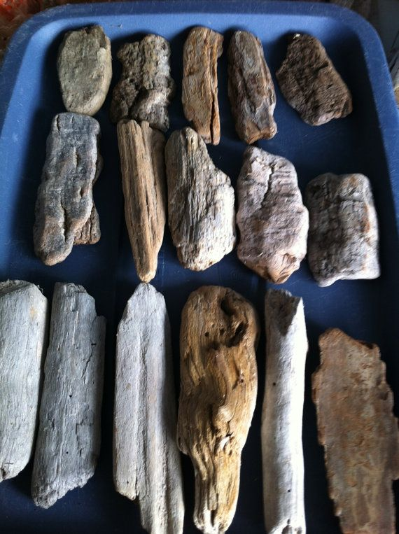 16 Pieces Flat Shaped Natural Driftwood Pieces Crafts by caroledoc, $6.00
