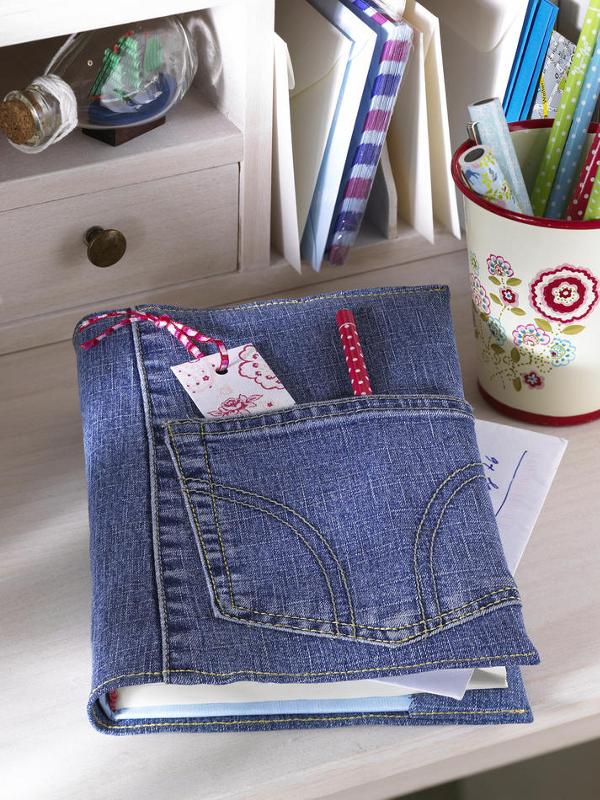 Buchumschlag aus alter Jeans | Wunderweib