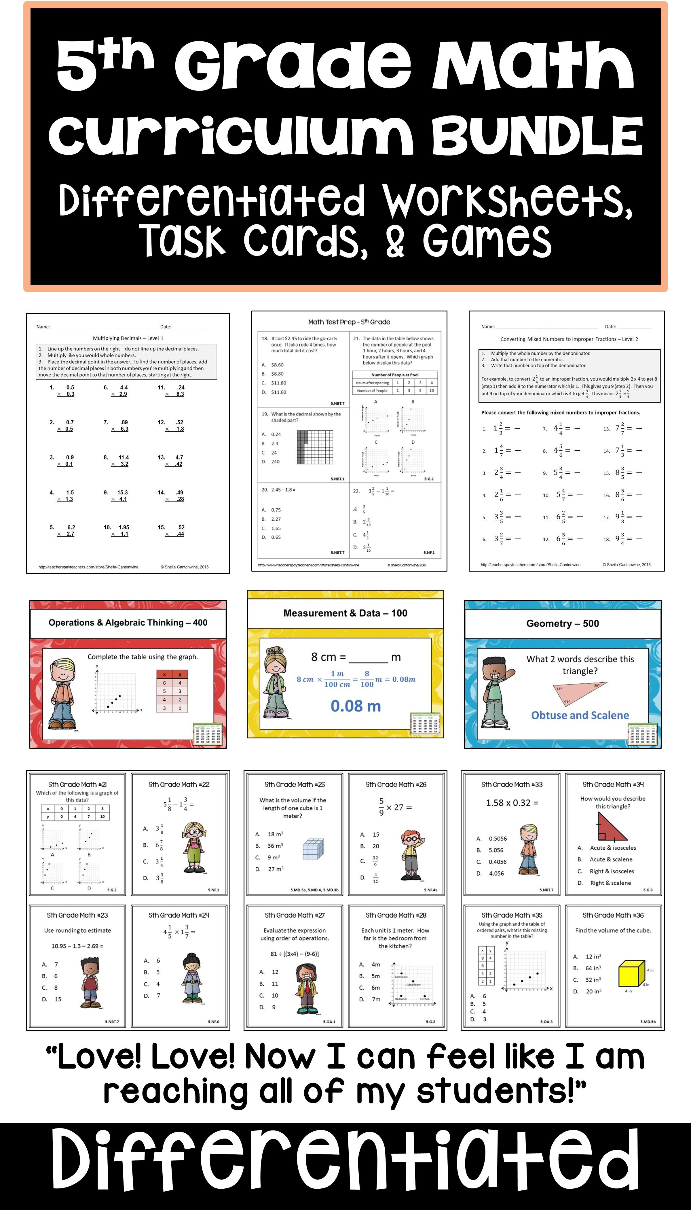 This 5th Grade Math Curriculum Bundle Features Common Core Standards With Lots Of Lessons Games Worksheet Math Curriculum 5th Grade Math Differentiation Math