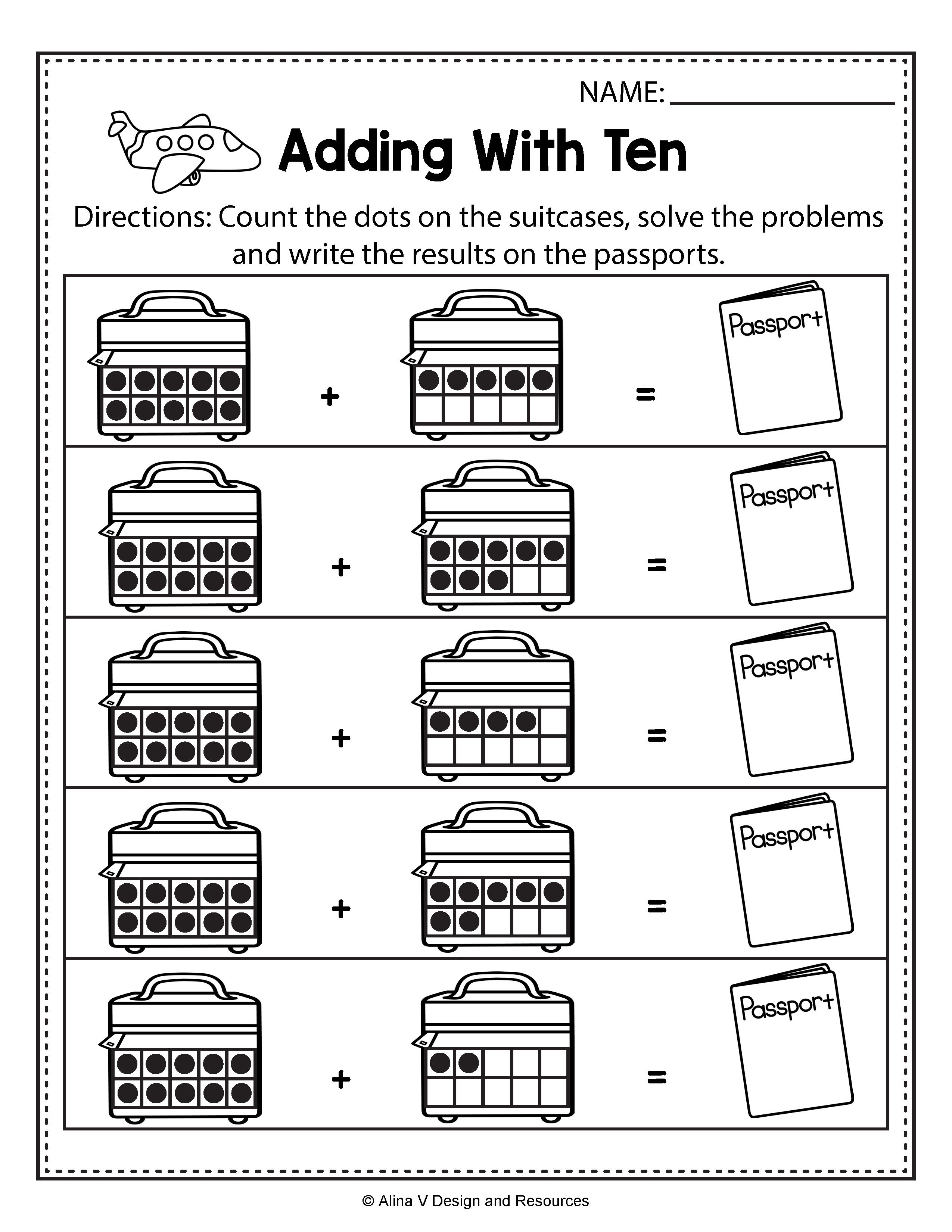 Adding With Ten Addition Summer Math Worksheets And Activities For Preschool Kindergarten And 1st Grade Kids Perfect For Morning Work And Math Centers Thes Summer addition worksheets free