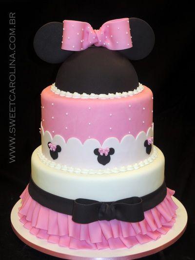 Bolo pasta americana, Minnie, Disney, pink | Bolos e Doces ...