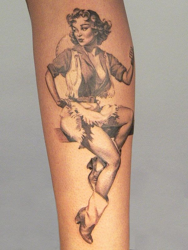 Pin up cowgirl tattoo xavier garcia boix http for Sailor jerry pin up tattoos
