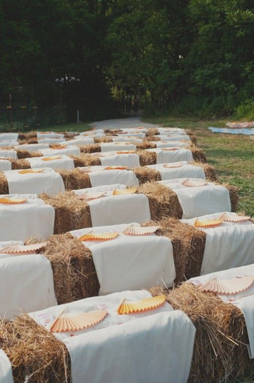 Wedding Ceremony Seating Hay Bales