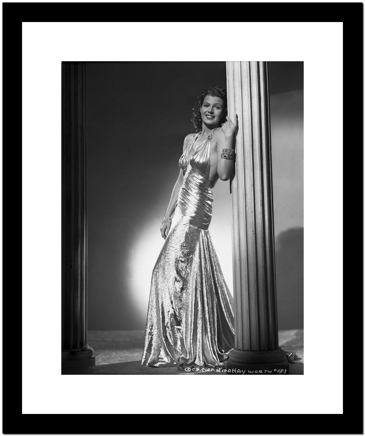 Rita Hayworth Leaning on Post in Black Gown Premium Art Print