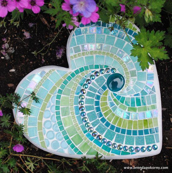 Mosaic Garden Stones: Tropical Rainforest Mosaic Heart Shaped Stepping Stone