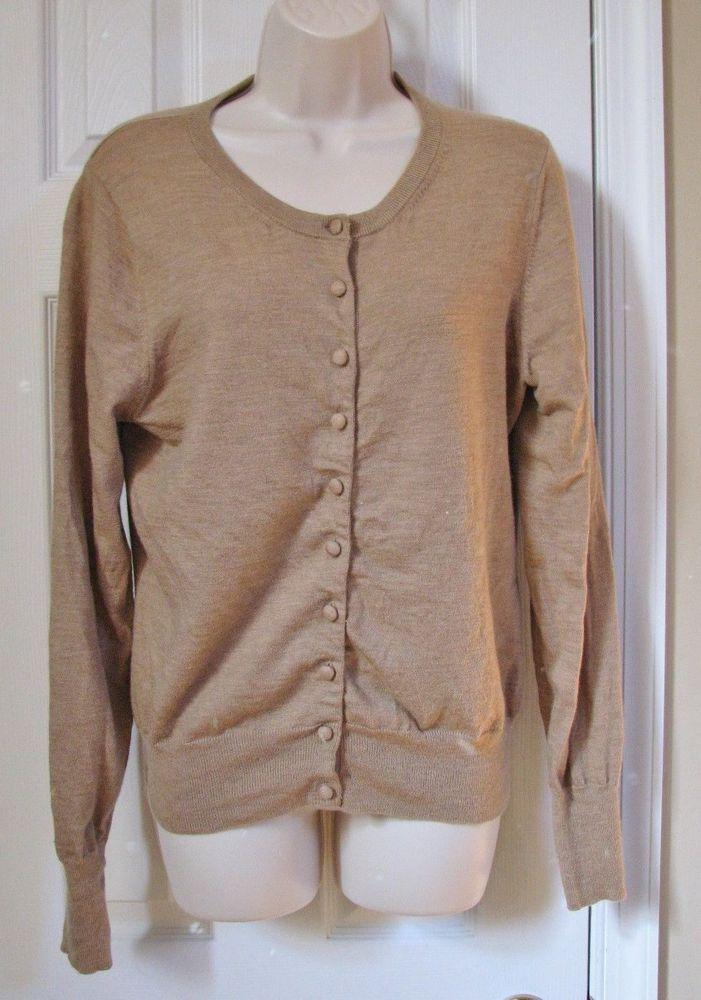 Banana Republic Women Long Sleeve Cardigan Sweater Brown L Merino ...