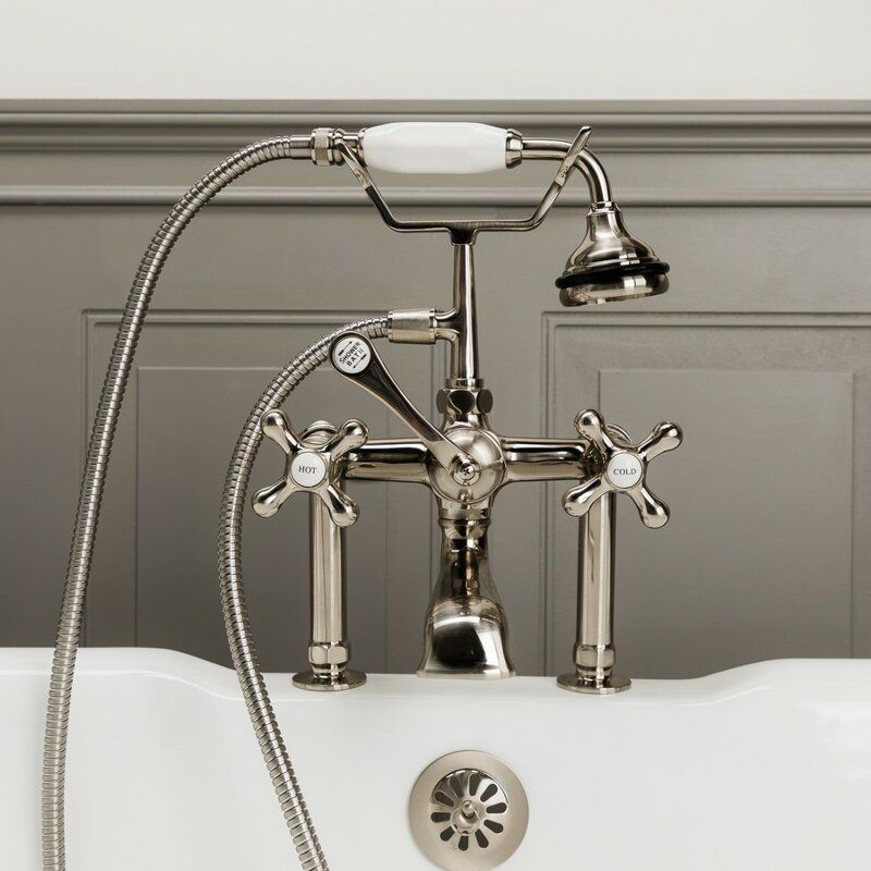 Triple Handle Deck Mounted Clawfoot Tub Faucet With Diverter And Handshower In 2020 Clawfoot Tub Faucet Tub Faucet Clawfoot Tub