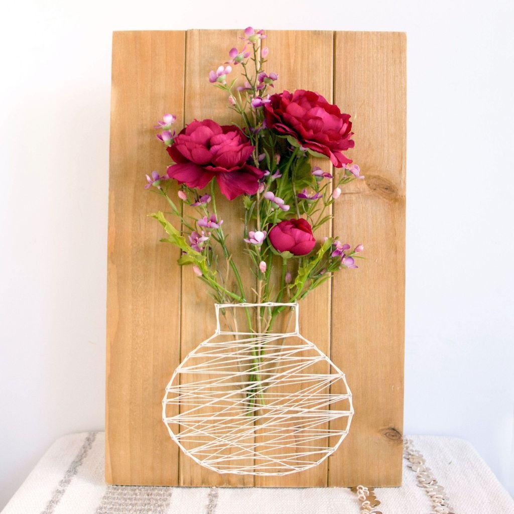 b6e717e9a8d9 Easy DIY String Art Flower Basket Plaque