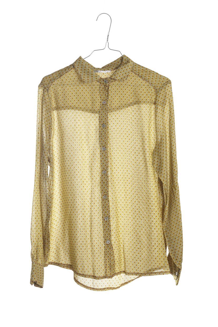 Blusa amarilla mostaza con rombos; amarillo y beige. Hecha a mano artesanalmente en Barcelona www.drbloom.es